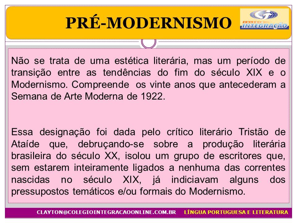Não se trata de uma estética literária, mas um período de transição entre as tendências do fim do século XIX e o Modernismo. Compreende os vinte anos