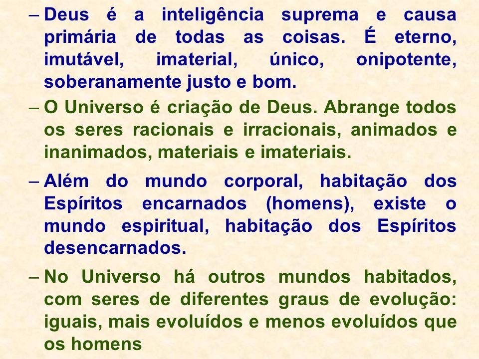 –Deus é a inteligência suprema e causa primária de todas as coisas. É eterno, imutável, imaterial, único, onipotente, soberanamente justo e bom. –O Un