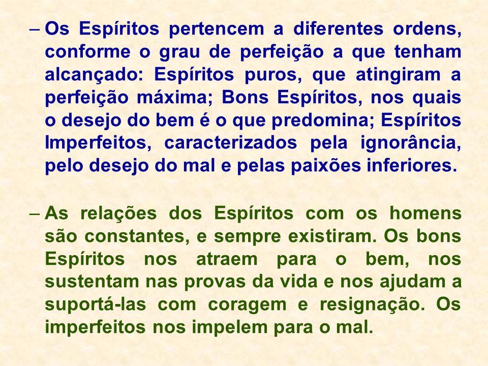 –Os Espíritos pertencem a diferentes ordens, conforme o grau de perfeição a que tenham alcançado: Espíritos puros, que atingiram a perfeição máxima; B