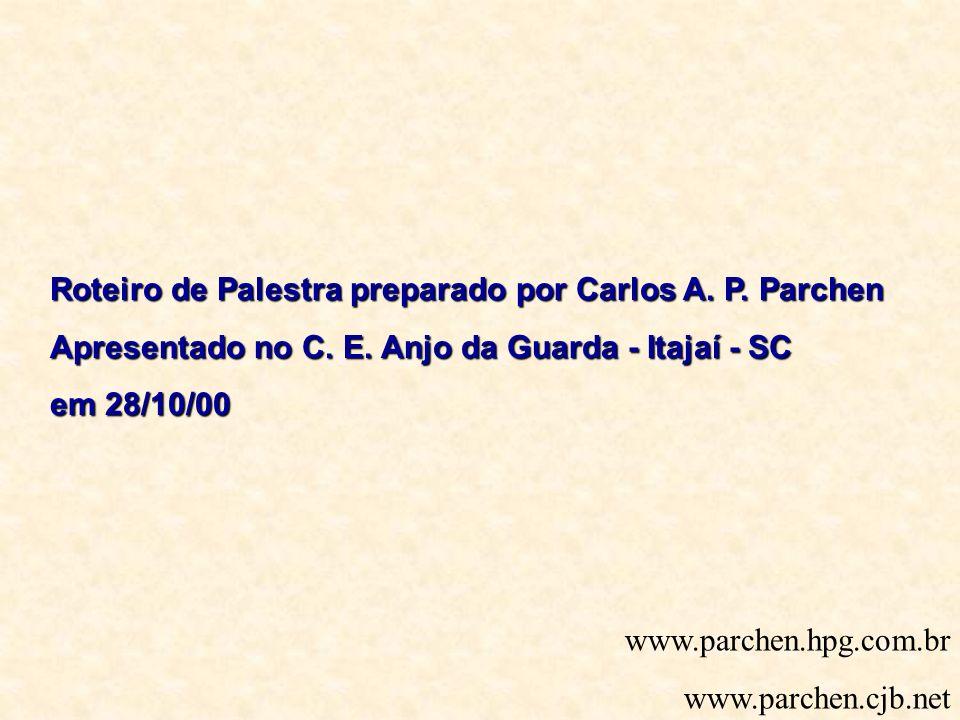 Roteiro de Palestra preparado por Carlos A. P. Parchen Apresentado no C. E. Anjo da Guarda - Itajaí - SC em 28/10/00 www.parchen.hpg.com.br www.parche