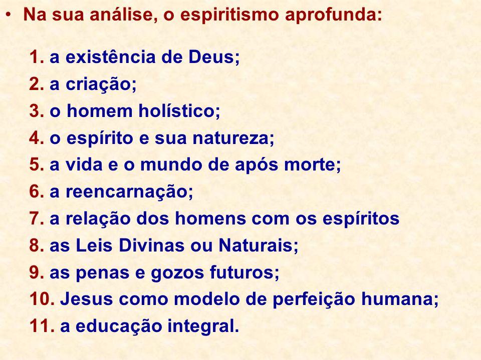 Na sua análise, o espiritismo aprofunda: 1. a existência de Deus; 2. a criação; 3. o homem holístico; 4. o espírito e sua natureza; 5. a vida e o mund