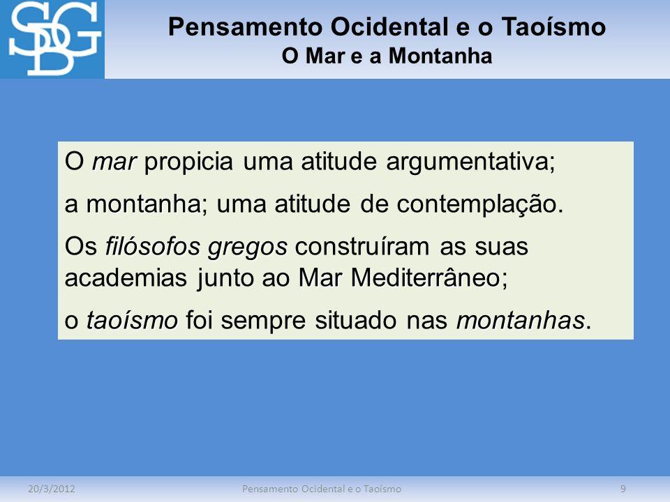 Pensamento Ocidental e o Taoísmo Busca da Verdade 20/3/2012Pensamento Ocidental e o Taoísmo10 A filosofia ocidental pergunta o que é a verdade; o taoísmo, o modo de atuar.