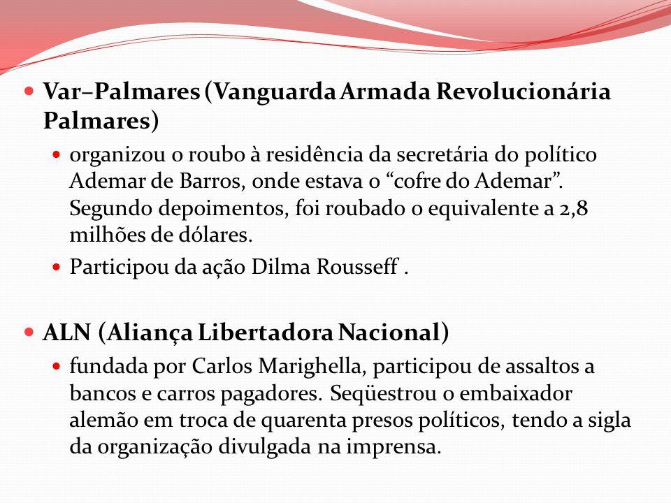 Var–Palmares (Vanguarda Armada Revolucionária Palmares) organizou o roubo à residência da secretária do político Ademar de Barros, onde estava o cofre
