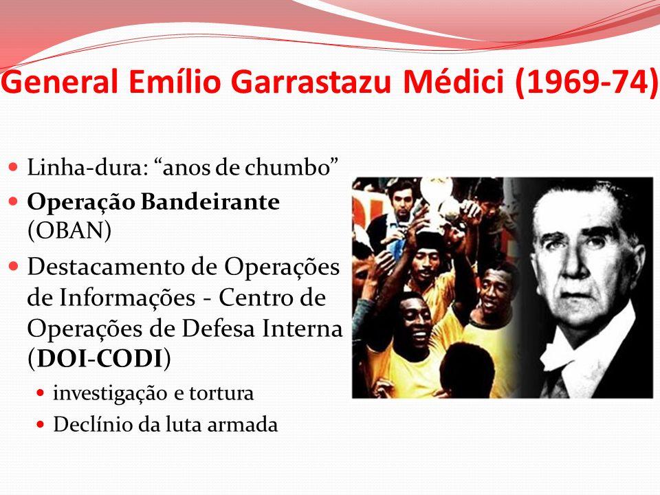 General Emílio Garrastazu Médici (1969-74) Linha-dura: anos de chumbo Operação Bandeirante (OBAN) Destacamento de Operações de Informações - Centro de