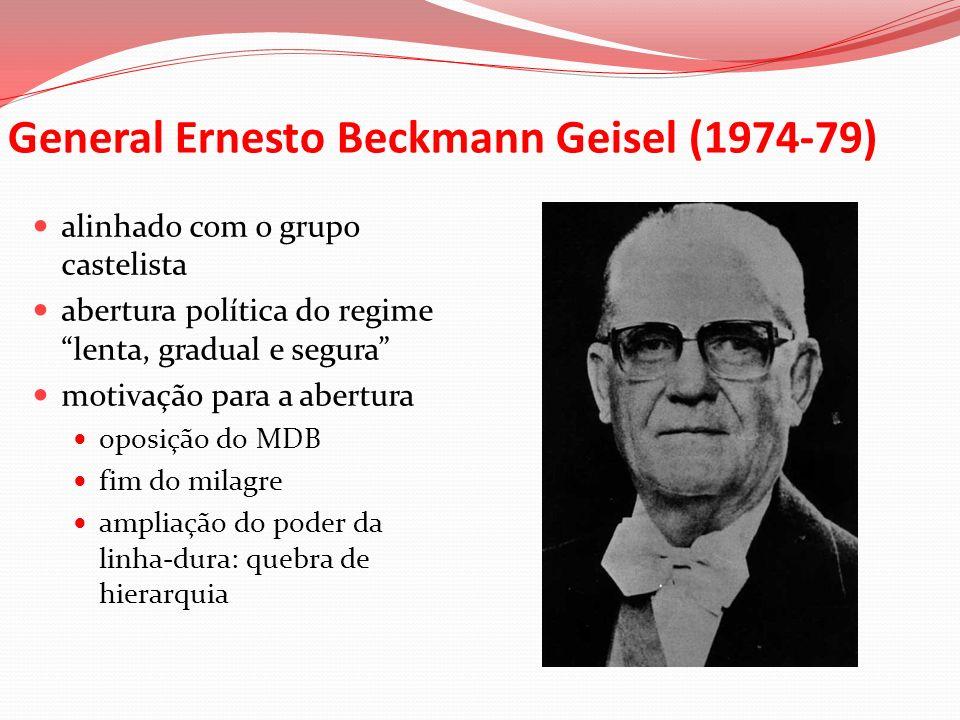 General Ernesto Beckmann Geisel (1974-79) alinhado com o grupo castelista abertura política do regime lenta, gradual e segura motivação para a abertur