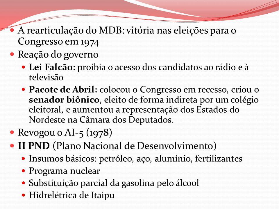 A rearticulação do MDB: vitória nas eleições para o Congresso em 1974 Reação do governo Lei Falcão: proibia o acesso dos candidatos ao rádio e à telev