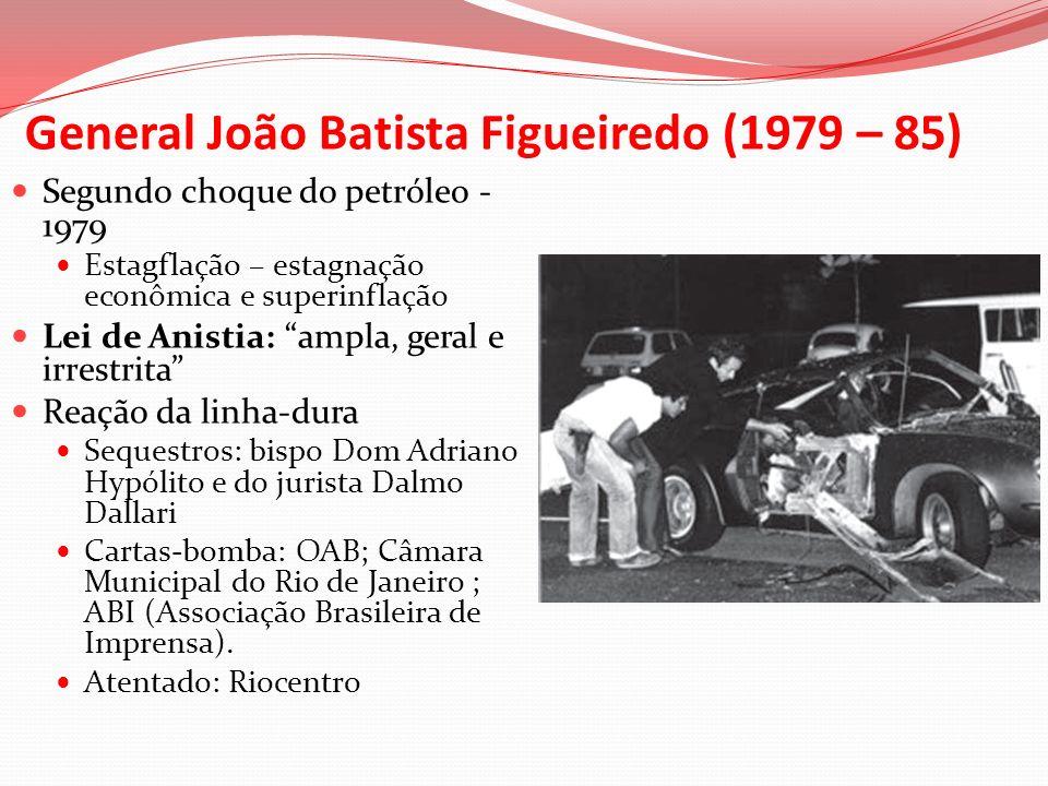 General João Batista Figueiredo (1979 – 85) Segundo choque do petróleo - 1979 Estagflação – estagnação econômica e superinflação Lei de Anistia: ampla