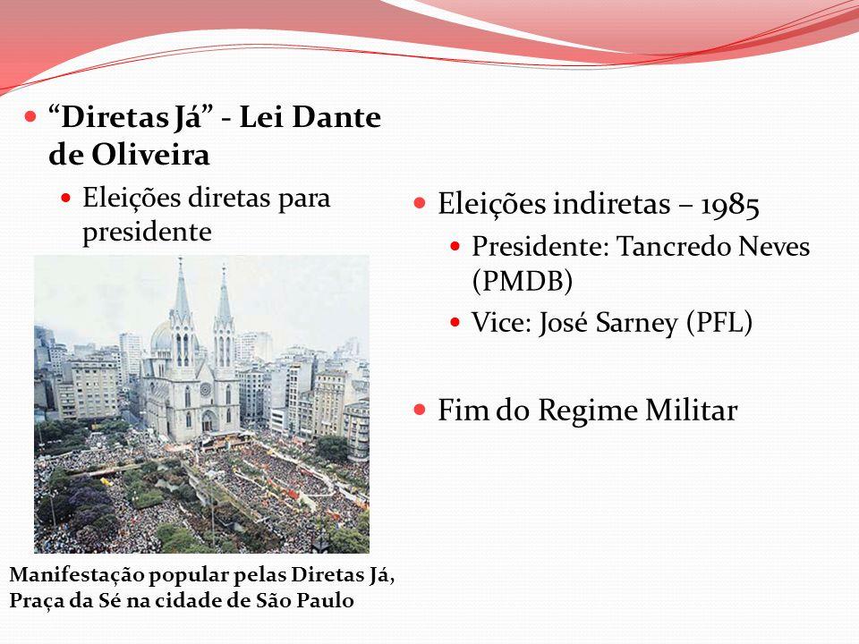 Diretas Já - Lei Dante de Oliveira Eleições diretas para presidente Eleições indiretas – 1985 Presidente: Tancredo Neves (PMDB) Vice: José Sarney (PFL