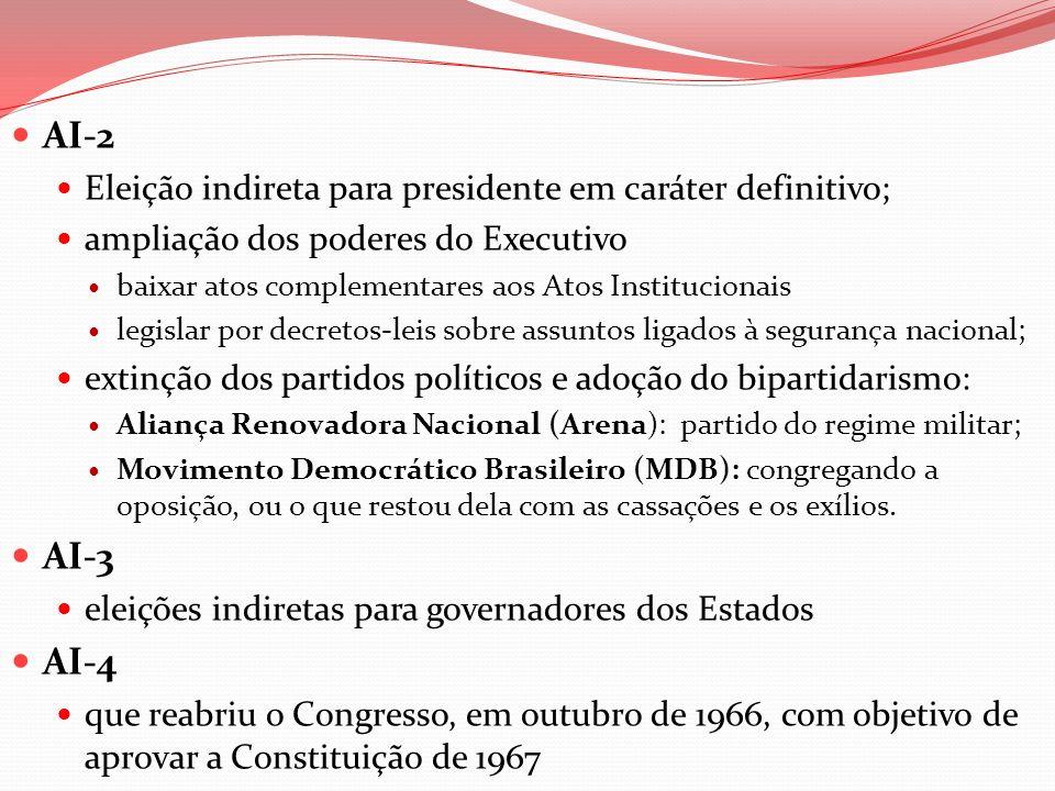 AI-2 Eleição indireta para presidente em caráter definitivo; ampliação dos poderes do Executivo baixar atos complementares aos Atos Institucionais leg