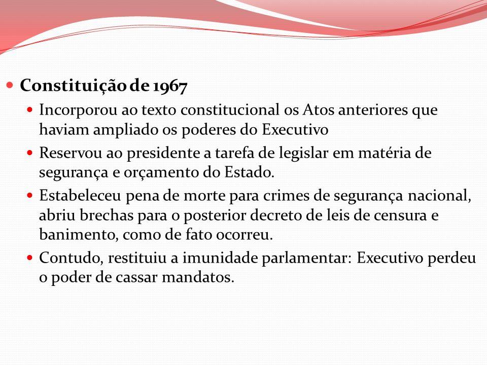 Constituição de 1967 Incorporou ao texto constitucional os Atos anteriores que haviam ampliado os poderes do Executivo Reservou ao presidente a tarefa