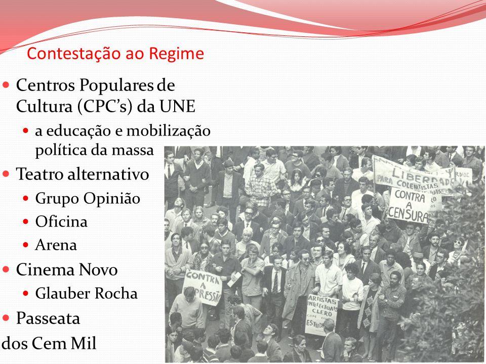 Contestação ao Regime Centros Populares de Cultura (CPCs) da UNE a educação e mobilização política da massa Teatro alternativo Grupo Opinião Oficina A
