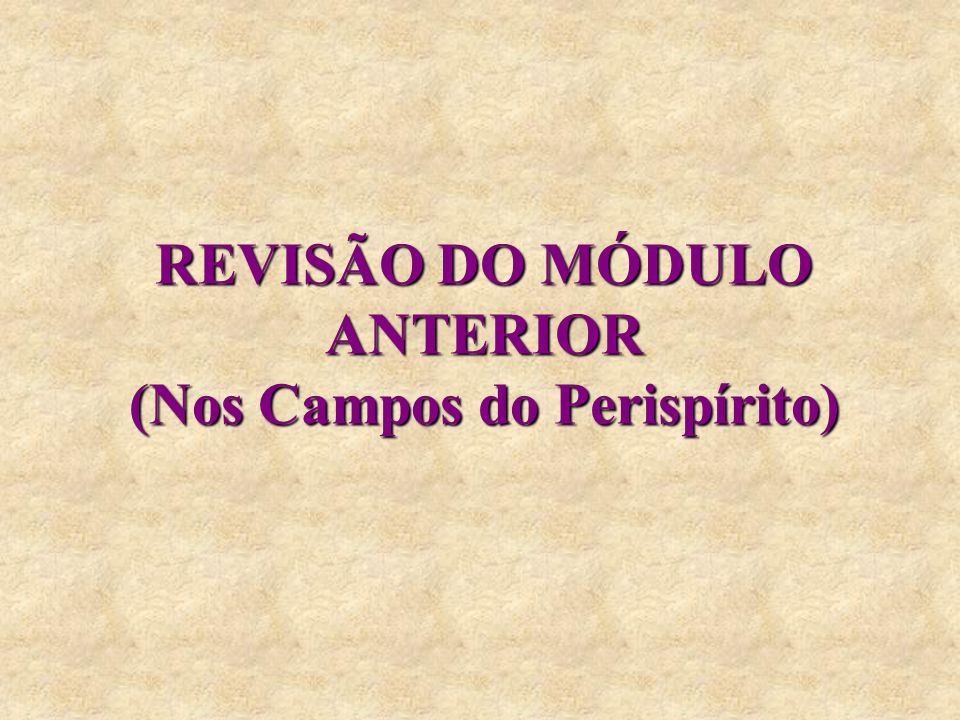 REVISÃO DO MÓDULO ANTERIOR (Nos Campos do Perispírito)
