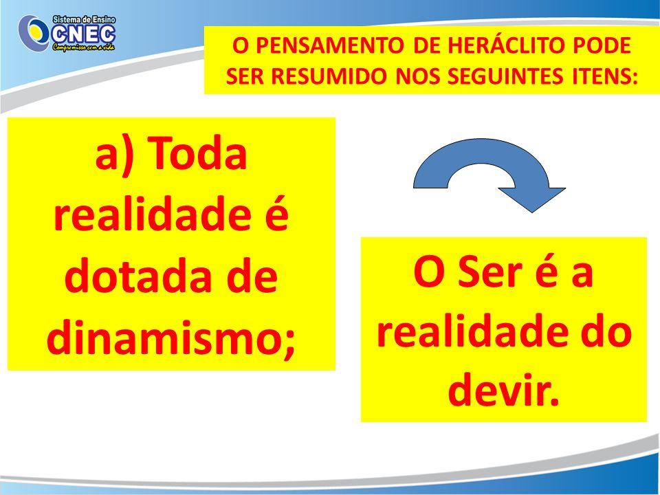 O PENSAMENTO DE HERÁCLITO PODE SER RESUMIDO NOS SEGUINTES ITENS: b) A força dos opostos: As coisas estão em perene oposição entre si.