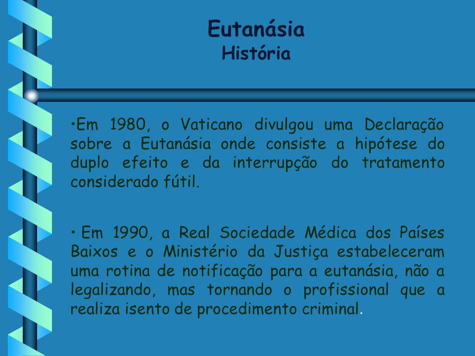 Em 1980, o Vaticano divulgou uma Declaração sobre a Eutanásia onde consiste a hipótese do duplo efeito e da interrupção do tratamento considerado fúti