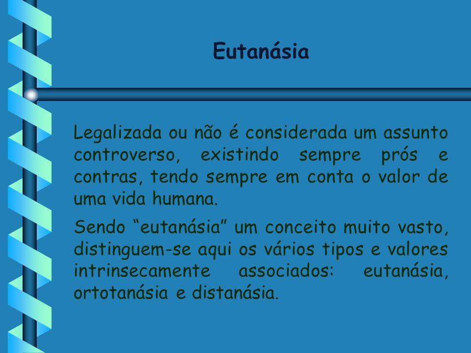 Eutanásia Legalizada ou não é considerada um assunto controverso, existindo sempre prós e contras, tendo sempre em conta o valor de uma vida humana. S