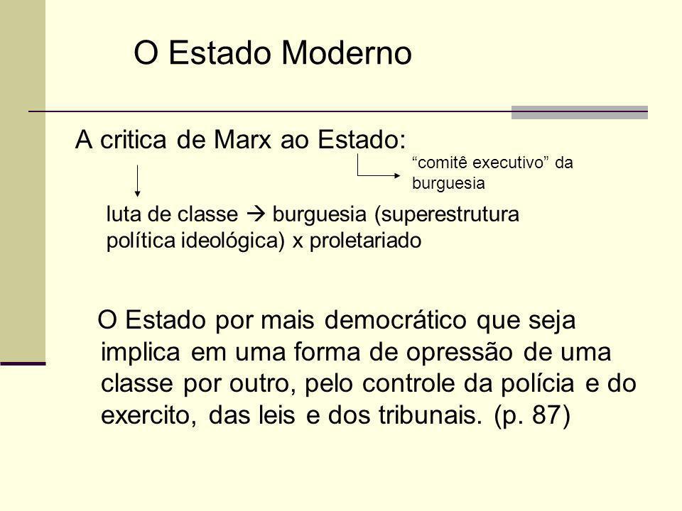 Max Weber O Estado Moderno como uma dominação racional-legal legitimada pela lei e pela eficiência burocrática, à qual contrapunha dois outros tipos ideais.