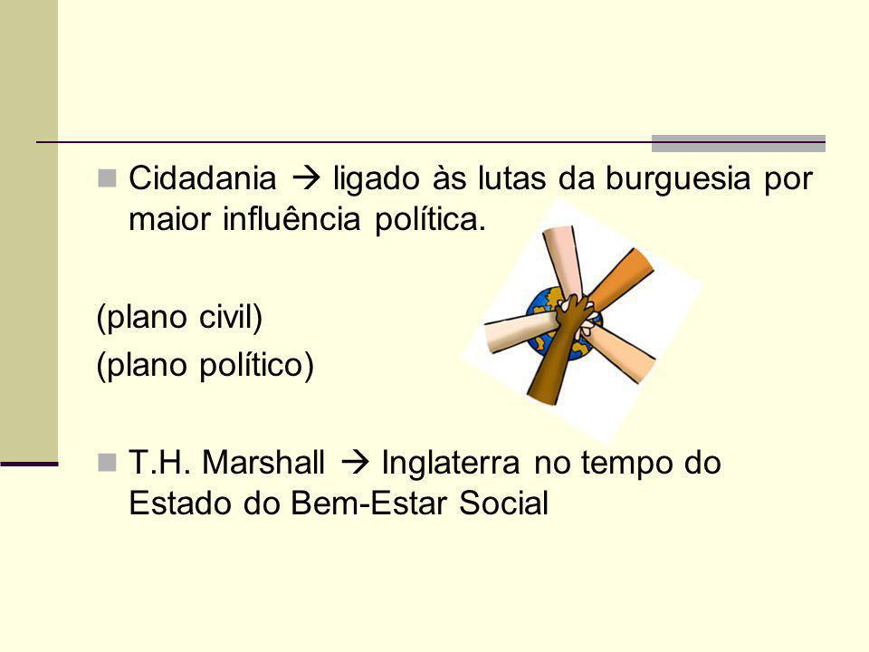 A construção da Cidadania no Brasil Constituição de 1824: Voto censitário Permanência da Escravidão Cidadão ativo e passivo Constituição de 1891: A principio expandia a cidadania para todos Excluiu-se os analfabetos da participação política.