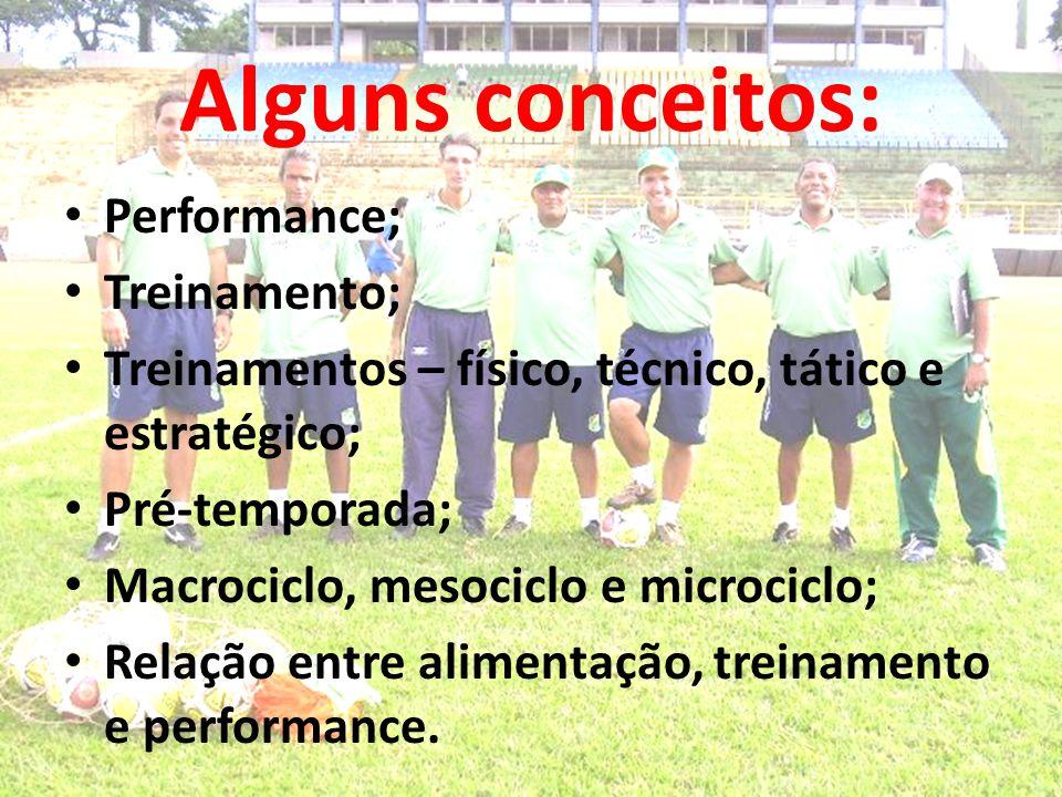 Alguns conceitos: Performance; Treinamento; Treinamentos – físico, técnico, tático e estratégico; Pré-temporada; Macrociclo, mesociclo e microciclo; R