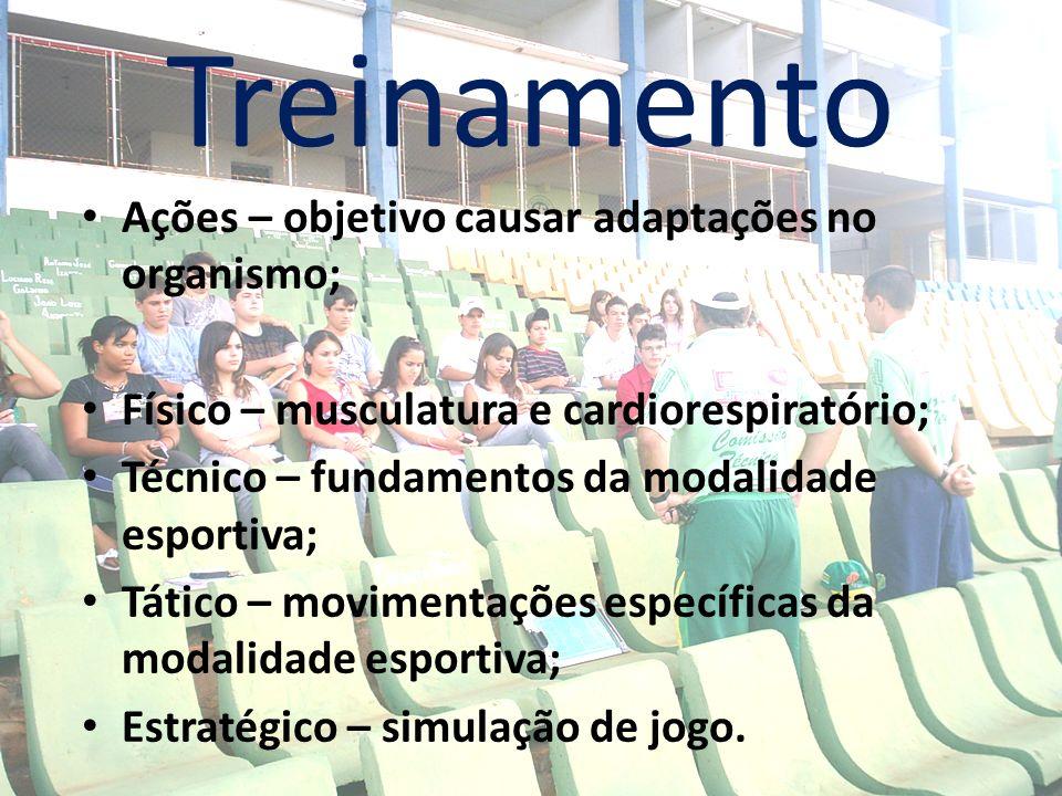 Treinamento Ações – objetivo causar adaptações no organismo; Físico – musculatura e cardiorespiratório; Técnico – fundamentos da modalidade esportiva;