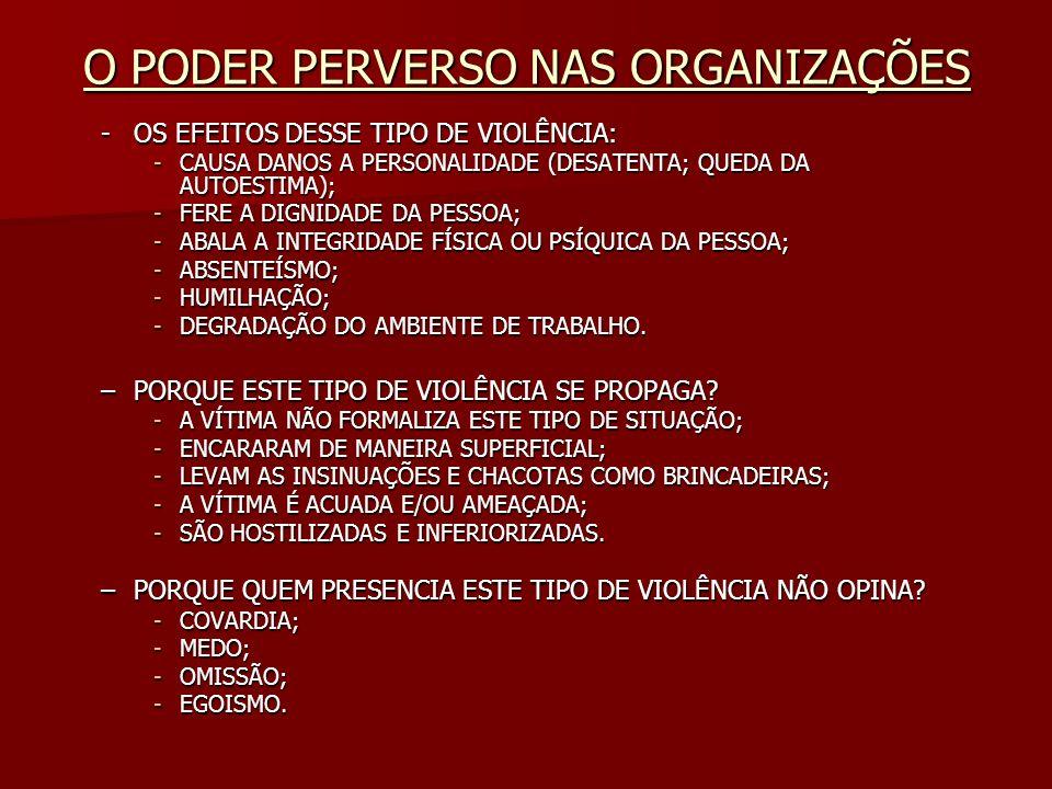 O PODER PERVERSO NAS ORGANIZAÇÕES -OS EFEITOS DESSE TIPO DE VIOLÊNCIA: -CAUSA DANOS A PERSONALIDADE (DESATENTA; QUEDA DA AUTOESTIMA); -FERE A DIGNIDAD