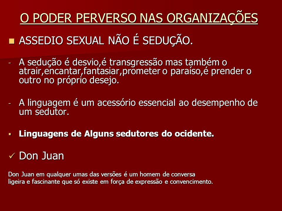 O PODER PERVERSO NAS ORGANIZAÇÕES ASSEDIO SEXUAL NÃO É SEDUÇÃO. ASSEDIO SEXUAL NÃO É SEDUÇÃO. - A sedução é desvio,é transgressão mas também o atrair,