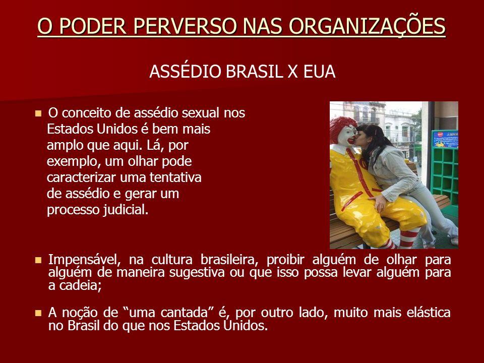 ASSÉDIO BRASIL X EUA O conceito de assédio sexual nos Estados Unidos é bem mais amplo que aqui. Lá, por exemplo, um olhar pode caracterizar uma tentat