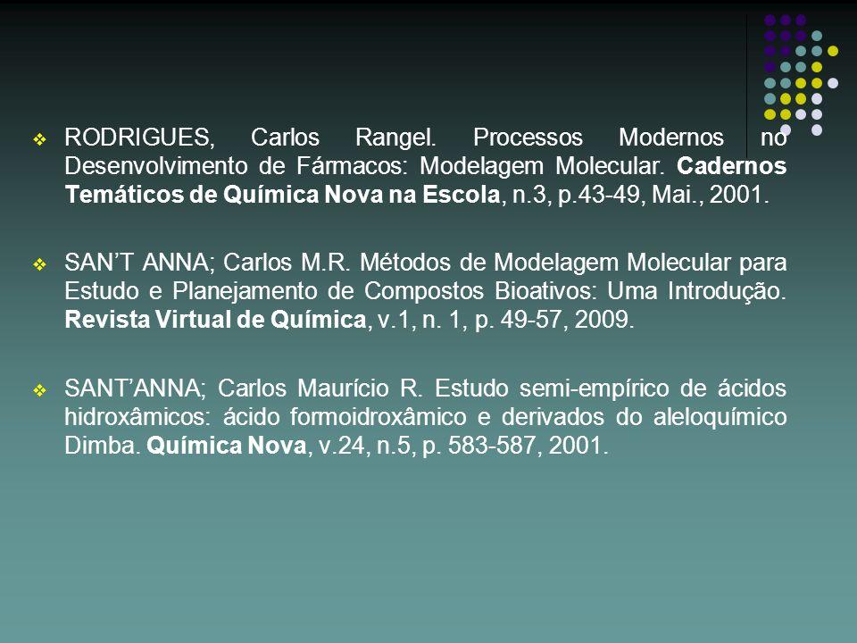 RODRIGUES, Carlos Rangel. Processos Modernos no Desenvolvimento de Fármacos: Modelagem Molecular. Cadernos Temáticos de Química Nova na Escola, n.3, p