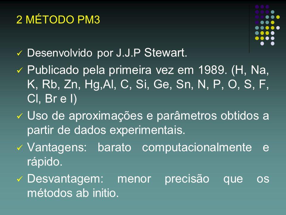 2 MÉTODO PM3 Desenvolvido por J.J.P Stewart. Publicado pela primeira vez em 1989. (H, Na, K, Rb, Zn, Hg,Al, C, Si, Ge, Sn, N, P, O, S, F, Cl, Br e I)