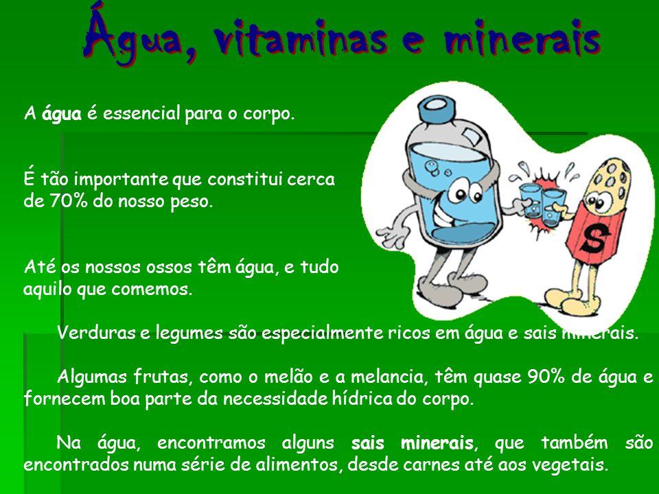 Verduras e legumes são especialmente ricos em água e sais minerais. Algumas frutas, como o melão e a melancia, têm quase 90% de água e fornecem boa pa