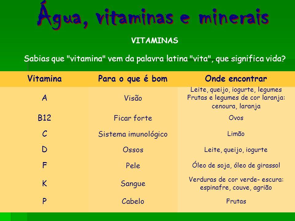 VITAMINAS As vitaminas são parte da constituição das enzimas, proteínas que promovem as reacções químicas no organismo. Sem vitaminas ou enzimas, essa
