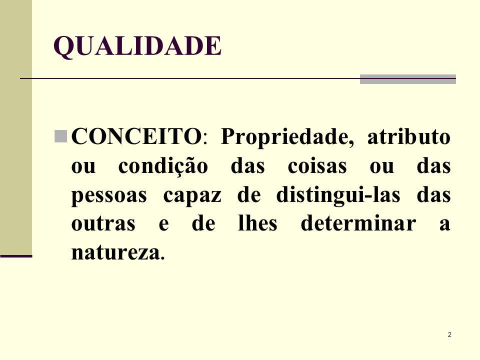 2 QUALIDADE CONCEITO: Propriedade, atributo ou condição das coisas ou das pessoas capaz de distingui-las das outras e de lhes determinar a natureza.