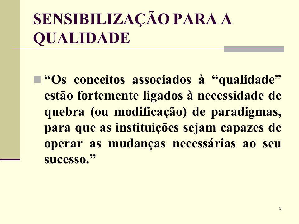 5 SENSIBILIZAÇÃO PARA A QUALIDADE Os conceitos associados à qualidade estão fortemente ligados à necessidade de quebra (ou modificação) de paradigmas,