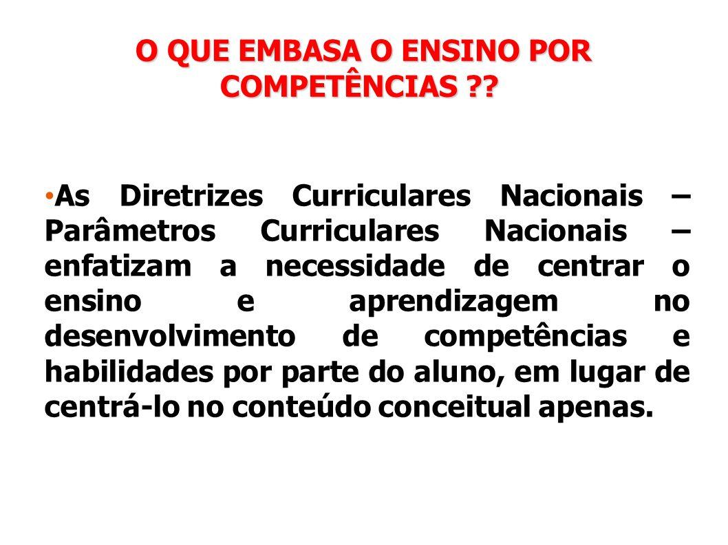 O QUE EMBASA O ENSINO POR COMPETÊNCIAS ?? O QUE EMBASA O ENSINO POR COMPETÊNCIAS ?? As Diretrizes Curriculares Nacionais – Parâmetros Curriculares Nac