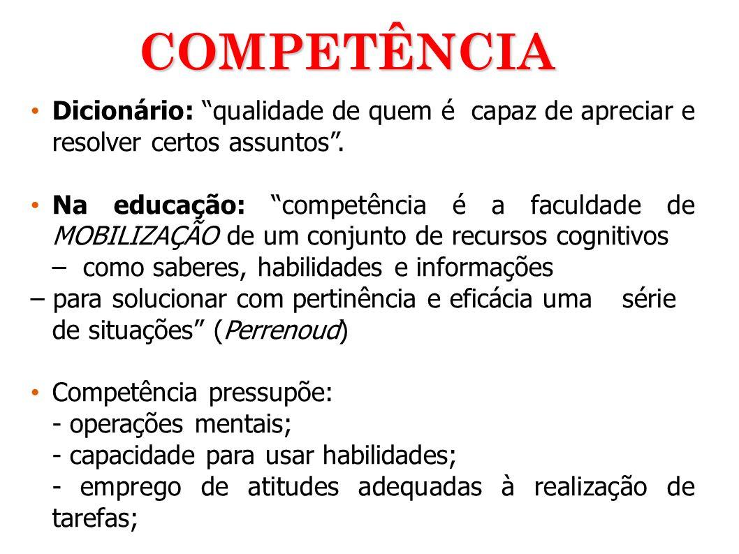 Dicionário: qualidade de quem é capaz de apreciar e resolver certos assuntos. Na educação: competência é a faculdade de MOBILIZAÇÃO de um conjunto de