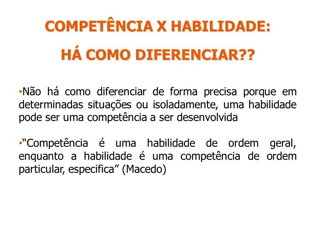COMPETÊNCIA X HABILIDADE: HÁ COMO DIFERENCIAR?? Não há como diferenciar de forma precisa porque em determinadas situações ou isoladamente, uma habilid