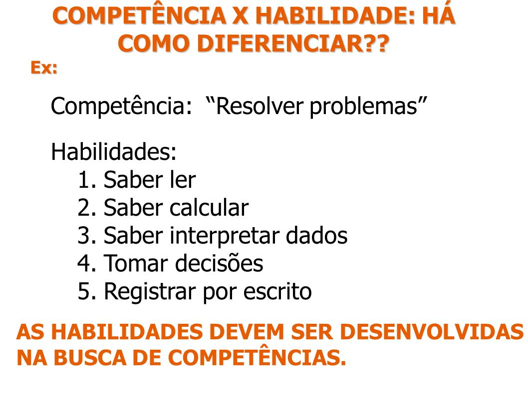 COMPETÊNCIA X HABILIDADE: HÁ COMO DIFERENCIAR?? Ex: Competência: Resolver problemas Habilidades: 1.Saber ler 2.Saber calcular 3.Saber interpretar dado