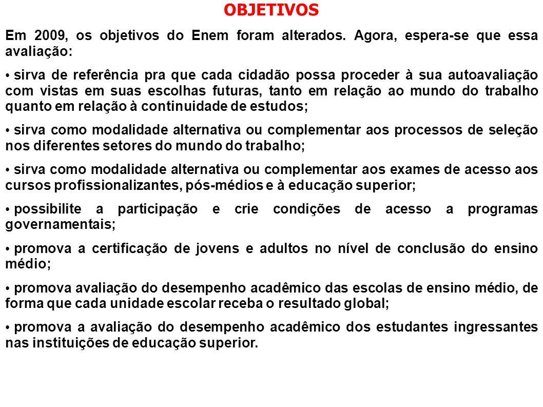 OBJETIVOS Em 2009, os objetivos do Enem foram alterados. Agora, espera-se que essa avaliação: sirva de referência pra que cada cidadão possa proceder