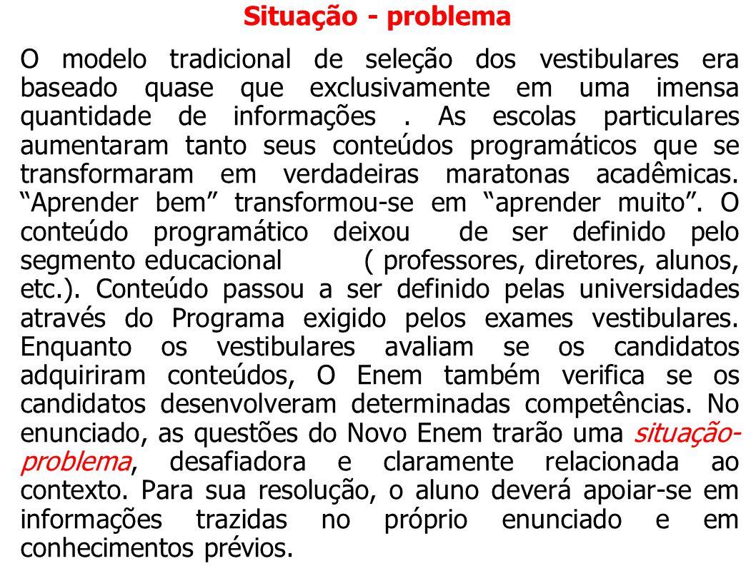 Situação - problema O modelo tradicional de seleção dos vestibulares era baseado quase que exclusivamente em uma imensa quantidade de informações. As