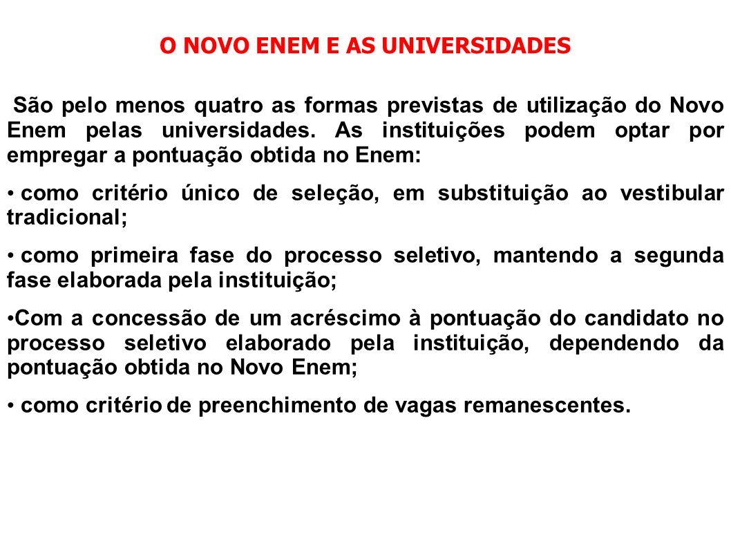 O NOVO ENEM E AS UNIVERSIDADES São pelo menos quatro as formas previstas de utilização do Novo Enem pelas universidades. As instituições podem optar p