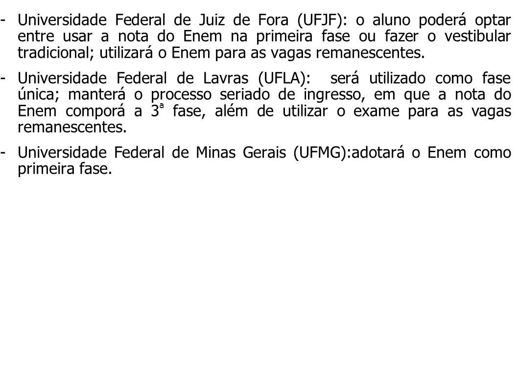 -Universidade Federal de Juiz de Fora (UFJF): o aluno poderá optar entre usar a nota do Enem na primeira fase ou fazer o vestibular tradicional; utili
