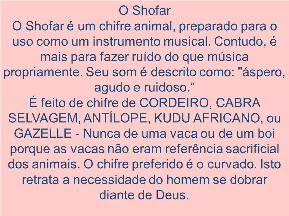 O Shofar O Shofar é um chifre animal, preparado para o uso como um instrumento musical. Contudo, é mais para fazer ruído do que música propriamente. S