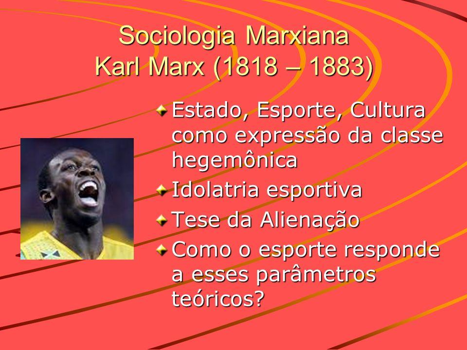 Sociologia Marxiana Karl Marx (1818 – 1883) Estado, Esporte, Cultura como expressão da classe hegemônica Idolatria esportiva Tese da Alienação Como o