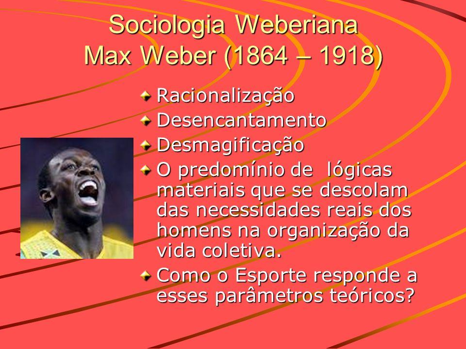 Sociologia Weberiana Max Weber (1864 – 1918) RacionalizaçãoDesencantamentoDesmagificação O predomínio de lógicas materiais que se descolam das necessi