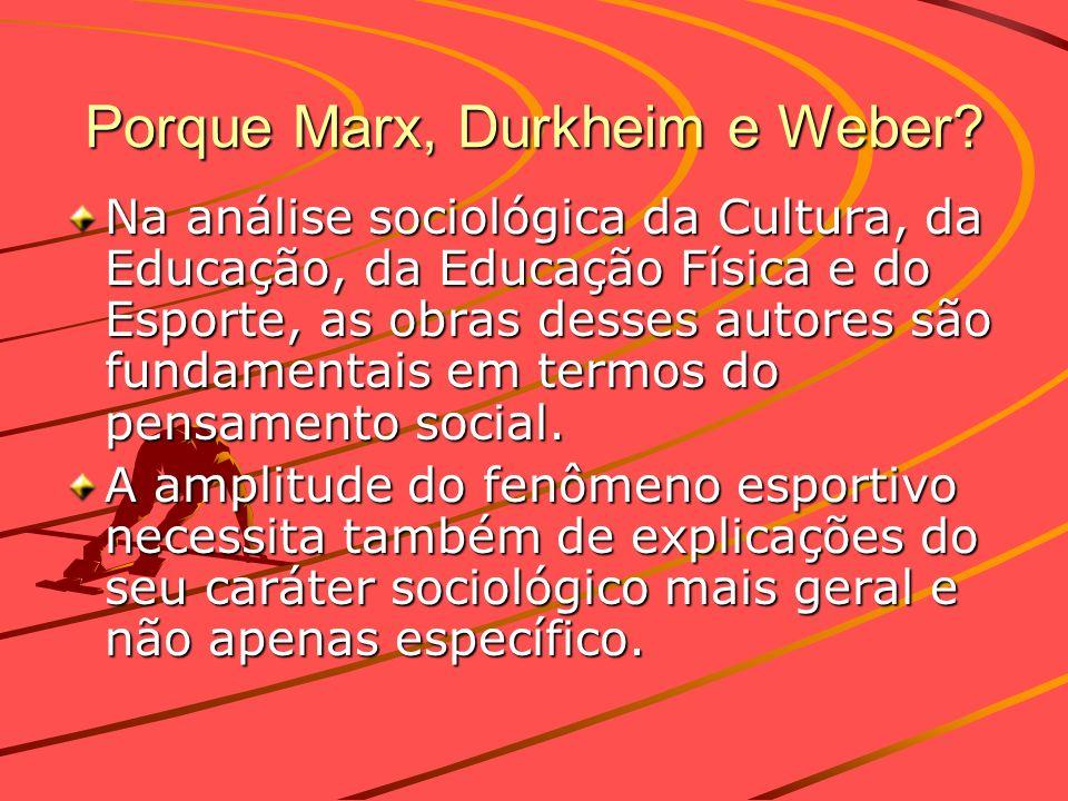 Porque Marx, Durkheim e Weber? Na análise sociológica da Cultura, da Educação, da Educação Física e do Esporte, as obras desses autores são fundamenta