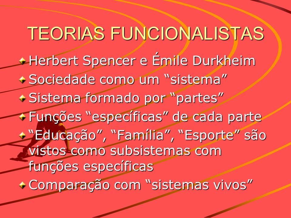 TEORIAS FUNCIONALISTAS Herbert Spencer e Émile Durkheim Sociedade como um sistema Sistema formado por partes Funções específicas de cada parte Educaçã