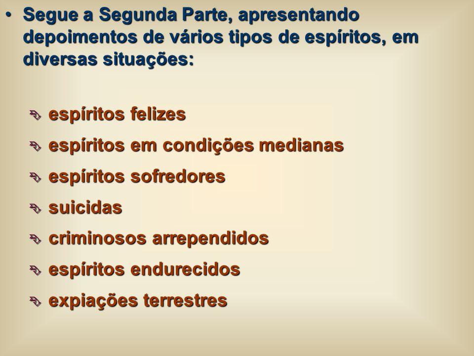Segue a Segunda Parte, apresentando depoimentos de vários tipos de espíritos, em diversas situações:Segue a Segunda Parte, apresentando depoimentos de