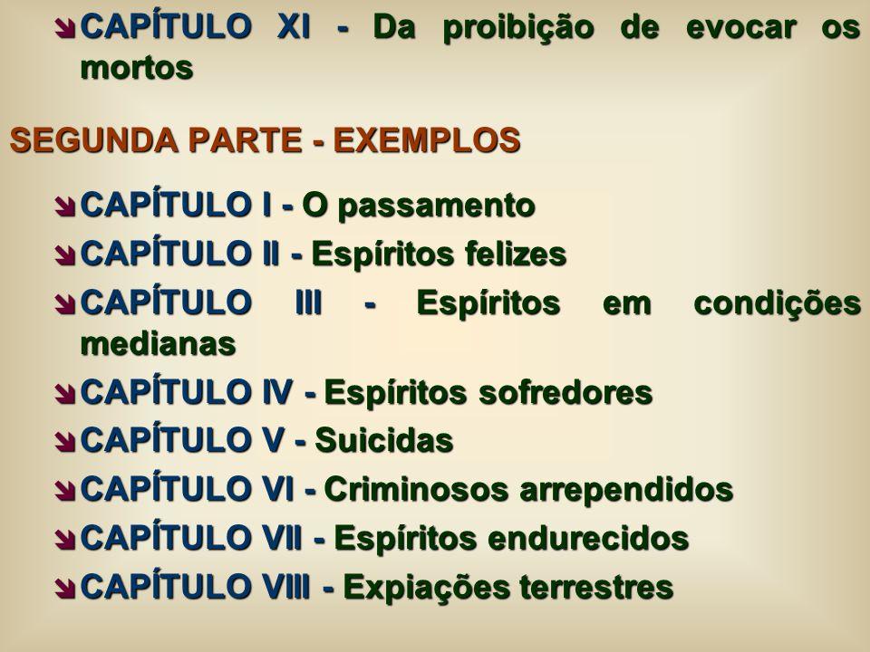 CAPÍTULO XI - Da proibição de evocar os mortos CAPÍTULO XI - Da proibição de evocar os mortos SEGUNDA PARTE - EXEMPLOS CAPÍTULO I - O passamento CAPÍT