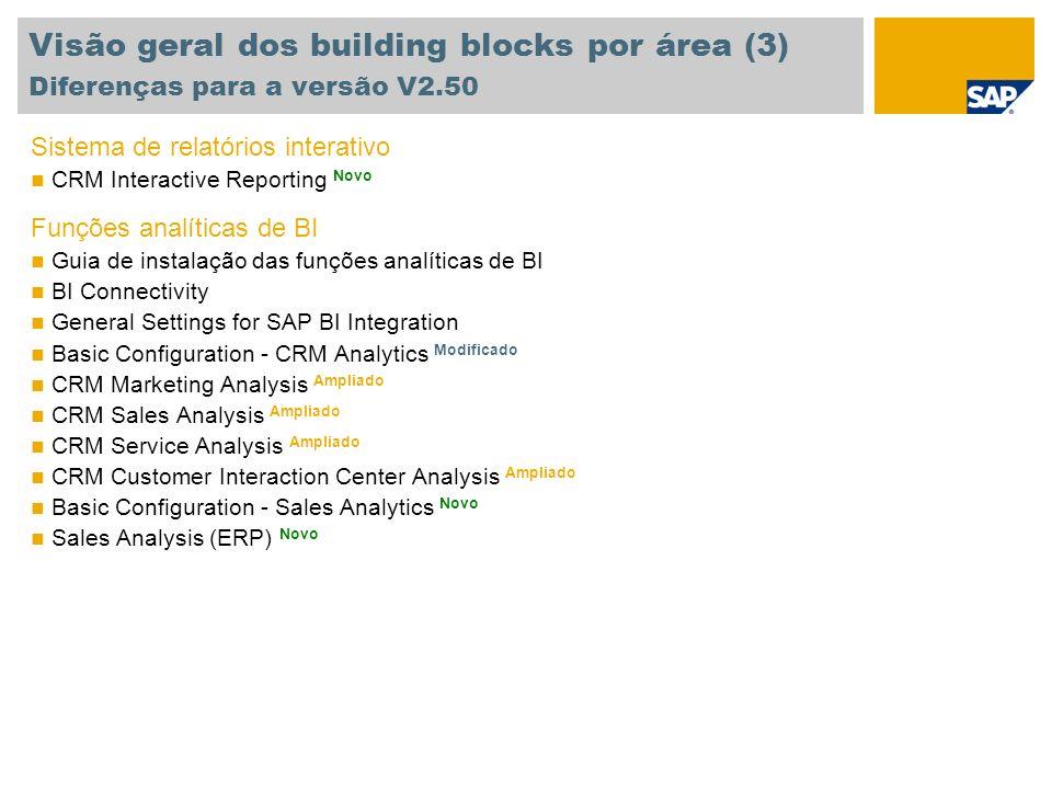 Visão geral dos building blocks por área (3) Diferenças para a versão V2.50 Sistema de relatórios interativo CRM Interactive Reporting Novo Funções an