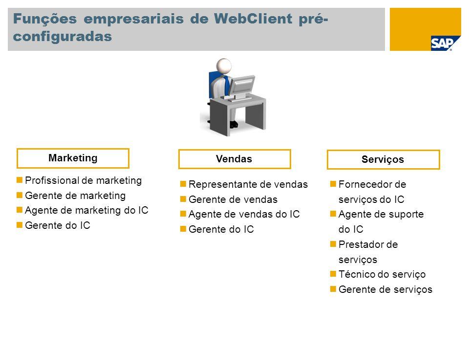 Funções empresariais de WebClient pré- configuradas Profissional de marketing Gerente de marketing Agente de marketing do IC Gerente do IC Representan