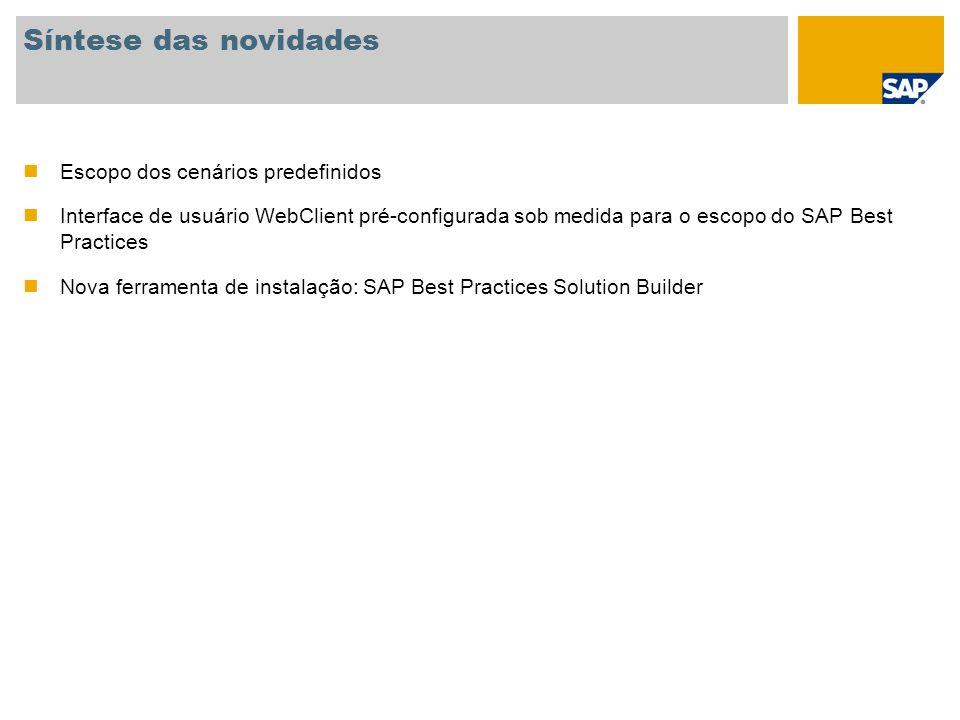 Informações gerais Nome da versão SAP Best Practices for Customer Relationship Management V1.2007 Base de aplicações SAP SAP NETWEAVER 2004s SAP CRM 2007, SP02 SAP ERP 6.0 Disponibilidade Junho de 2008 (versão em inglês) Localização A versão genérica pode ser usada para quase todos os países, sem a necessidade de localização Combinação com outras versões do SAP Best Practices O SAP Best Practices for CRM V1.2007 pode ser combinado com todas as outras versões do SAP Best Practices Baseline ou versões setoriais baseadas em SAP ERP 6.0